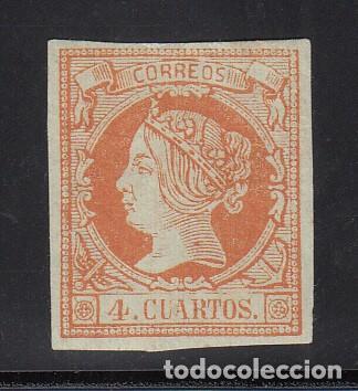 ESPAÑA, 1860 EDIFIL Nº 52 /*/, 4 CU. NARANJA S. VERDE, ISABEL II. (Sellos - España - Isabel II de 1.850 a 1.869 - Nuevos)