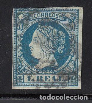ESPAÑA, 1860 EDIFIL Nº 55, 1 R. AZUL, ISABEL II (Sellos - España - Isabel II de 1.850 a 1.869 - Usados)