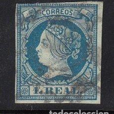 Sellos: ESPAÑA, 1860 EDIFIL Nº 55, 1 R. AZUL, ISABEL II. Lote 222003437