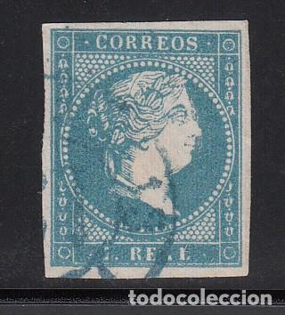 ESPAÑA, 1855 EDIFIL Nº 49, 1 R. AZUL, ISABEL II. MATASELLOS RUEDA DE CARRETA 19, BADAJOZ EN AZUL (Sellos - España - Isabel II de 1.850 a 1.869 - Usados)