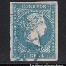 Sellos: ESPAÑA, 1855 EDIFIL Nº 49, 1 R. AZUL, ISABEL II. MATASELLOS RUEDA DE CARRETA 19, BADAJOZ EN AZUL. Lote 222004305