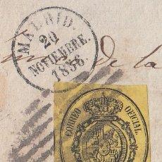 Sellos: ESPAÑA, 1855 EDIFIL Nº 35, MATASELLOS REJILLA Y FECHADOR PEQUEÑO DE MADRID SOBRE FRAGMENTO. Lote 222005776