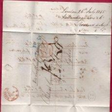 Sellos: CARTA AÑO 1845.LONDRES - CADIZ VÍA SOUTHAMPTON.. Lote 222135186