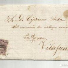 Sellos: CIRCULADA Y ESCRITA COMERCIO DE CORCHO 1869 DE BARCELONA A VILAFAN POR FIGUERES GERONA. Lote 222406292