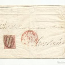 Sellos: ENVUELTA CIRCULADA 1852 DE VALENCIA A SANTANDER. Lote 222558258