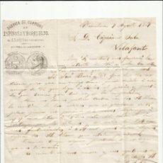 Sellos: CIRCULADA Y ESCRITA NEGOCIOS DE CORCHO 1869 DE BARCELONA A VILAFANT GIRONA POR FIGUERES. Lote 222558535