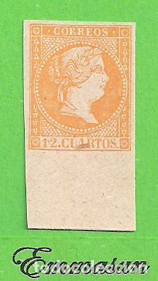 EDIFIL NE 1. ISABEL II. (1855). 12 CUARTOS NARANJA - NO EXPEDIDO. (Sellos - España - Isabel II de 1.850 a 1.869 - Nuevos)