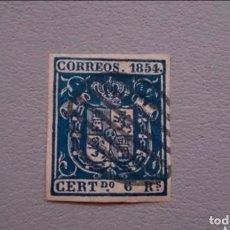 Sellos: ESPAÑA - 1854 - ISABEL II - CATALOGO ESPECIALIZADO EDIFIL 27A-F - AZUL OSCURO - ESCUDO DE ESPAÑA.. Lote 224206686