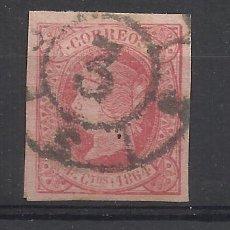 Francobolli: ISABEL II 1864 EDIFIL 64 RUEDA CARRETA 3 CADIZ. Lote 224439333