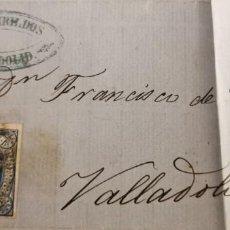Timbres: VALLADOLID, CARTA CIRCULADA, EDIFIL 63, RUEDA DE CARRETA, FABRICA DE CURTIDOS JUAN DIBILDOS,1864. Lote 225230016