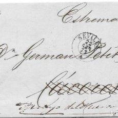 Sellos: EDIFIL 44. PAREJA DE ENVUELTAS ENVIADAS DE SEVILLA A CACERES Y A ARROYO DEL PUERCO. 1856. Lote 225834100