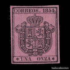 Sellos: 1854. ESCUDO DE ESPAÑA. 1 ONZA. NEGRO S ROSA. NUEVO*. EDIFIL 29. Lote 226792700