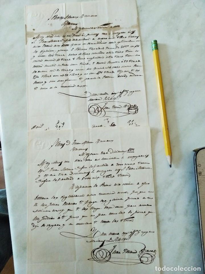 2 CARTAS ALMAZARRÓN/MAZARRÓN A BARCELONA. 1858. JUAN VÉLEZ A ALESAN HERMANOS. (Sellos - España - Isabel II de 1.850 a 1.869 - Cartas)