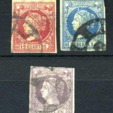 Sellos: XS- ISABEL II 1860-1861 LOTE X3 SELLOS DIFÍCILES: 12 CUARTOS, 1 Y 2 REALES EDIFIL 53, 53, 56. Lote 234585745