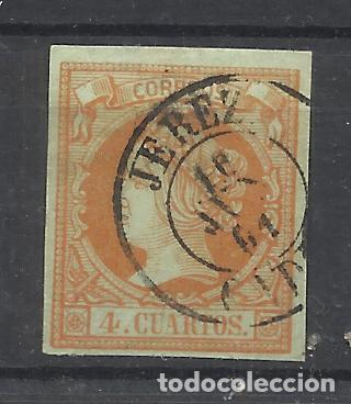 ISABEL II 1860 EDIFIL 52 FECHADOR JEREZ CADIZ (Sellos - España - Isabel II de 1.850 a 1.869 - Usados)