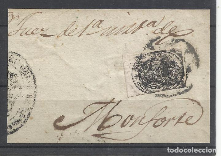 ESCUDO 1855 EDIFIL 36 SOBRE FRAGMENTO A JUEZ MONFORTE LUGO (Sellos - España - Isabel II de 1.850 a 1.869 - Usados)