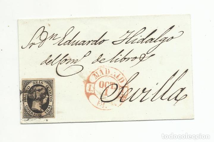 ENVUELTA CIRCULADA 1851 DE MADRID A SEVILLA (Sellos - España - Isabel II de 1.850 a 1.869 - Cartas)