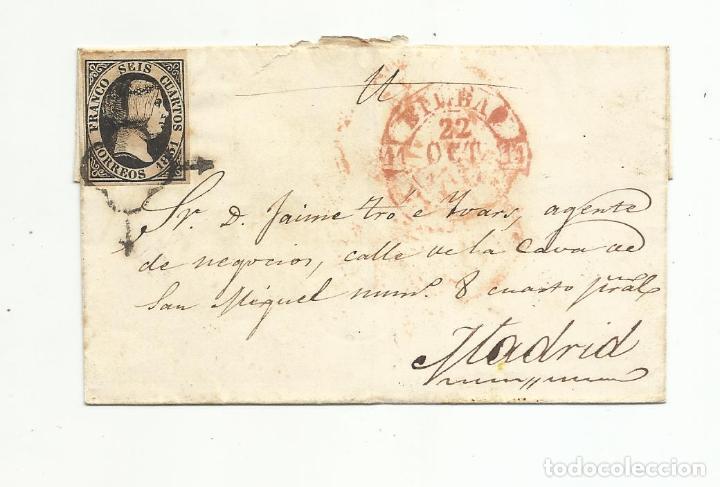 ENVUELTA CIRCULADA 1851 DE BILBAO A MADRID (Sellos - España - Isabel II de 1.850 a 1.869 - Cartas)