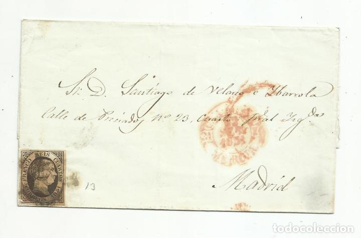 ENVUELTA CIRCULADA 1851 DE MURCIA A MADRID (Sellos - España - Isabel II de 1.850 a 1.869 - Cartas)