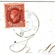 Sellos: 1863 (29 ENE) CARTA ENVUELTA TRUJILLO, CÁCERES. RUEDA CARRETA 59 DE TRUJILLO. EMISIÓN ISABEL II 1862. Lote 240635925
