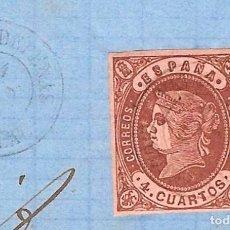 Sellos: 1862 (1 FEB) CARTA ENVUELTA VALDEPEÑAS - CIUDAD REAL. FECHADOR TIPO II. EMISIÓN ISABEL II 1862. Lote 240638345