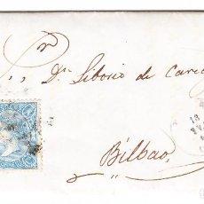 Sellos: 1865 CARTA COMPLETA A BILBAO CON EDIFIL 75 TIPO I ISABEL II. Lote 242107060