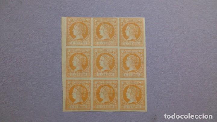 ESPAÑA - 1860-61 - ISABEL II - EDIFIL 52 - BLOQUE DE 9 - AUTENTICOS - MNG - NUEVOS - LUJO - ESCASO. (Sellos - España - Isabel II de 1.850 a 1.869 - Nuevos)