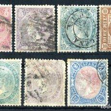 Sellos: XS- ISABEL II LOTE X7 SELLOS DIFÍCILES 1866-1869 MÍRALOS ALTO VALOR. Lote 243046855