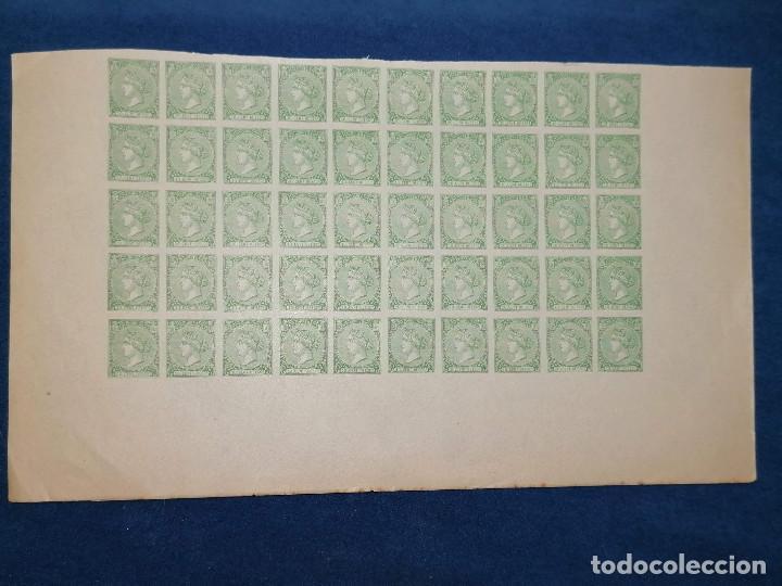 ESPAÑA FALSO FILATELICO LOTE SELLOS 50 SELLOS PLIEGO HOJA NUEVO EDIFIL 84 IMPRESO AÑOS 1920 APROX (Sellos - España - Isabel II de 1.850 a 1.869 - Nuevos)