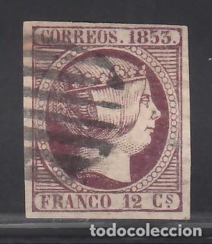 ESPAÑA. 1853 EDIFIL Nº 18, ISABEL II. 12 C. VIOLETA (Sellos - España - Isabel II de 1.850 a 1.869 - Usados)