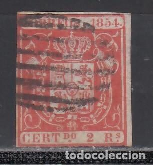 ESPAÑA. 1854 EDIFIL Nº 25. ESCUDO DE ESPAÑA. 2 R. ROJO. (Sellos - España - Isabel II de 1.850 a 1.869 - Usados)
