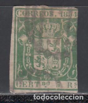 ESPAÑA. 1854 EDIFIL Nº 26. ESCUDO DE ESPAÑA. 5 R. VERDE. (Sellos - España - Isabel II de 1.850 a 1.869 - Usados)