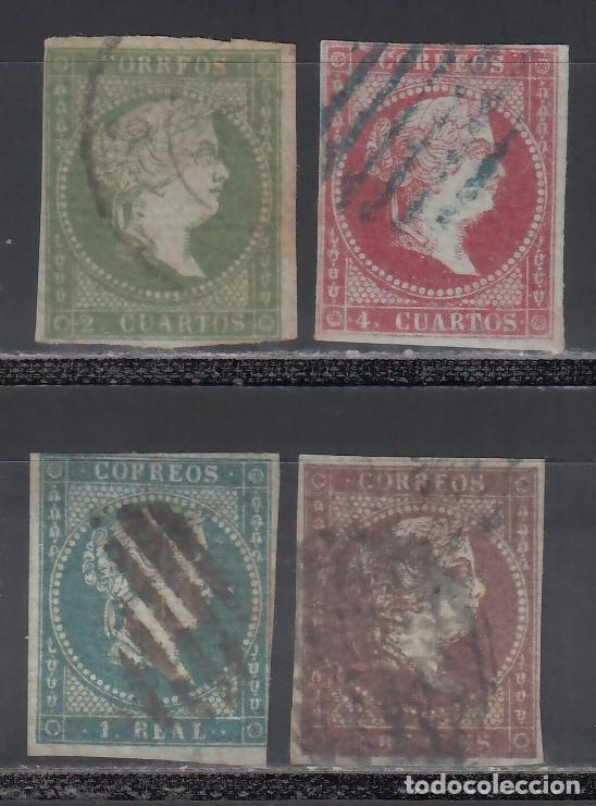 ESPAÑA. 1855 EDIFIL Nº 39 / 42. ISABEL II. FILIGRANA DE LAZOS. 4 VALORES. (Sellos - España - Isabel II de 1.850 a 1.869 - Usados)