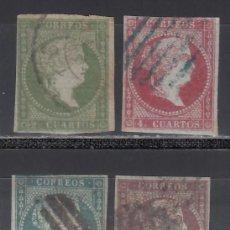 Sellos: ESPAÑA. 1855 EDIFIL Nº 39 / 42. ISABEL II. FILIGRANA DE LAZOS. 4 VALORES.. Lote 244403945