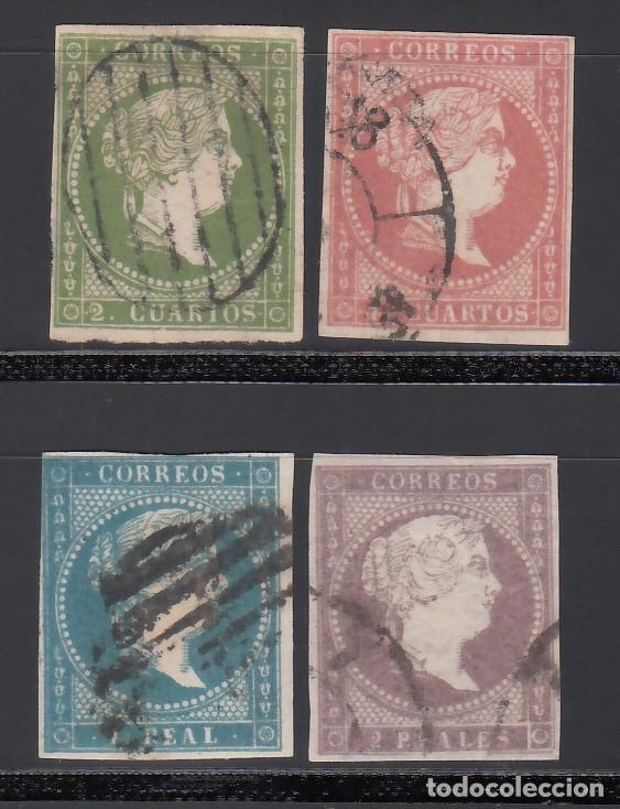 ESPAÑA. 1855 EDIFIL Nº 47 / 50. ISABEL II. SIN FILIGRANA 4 VALORES. (Sellos - España - Isabel II de 1.850 a 1.869 - Usados)