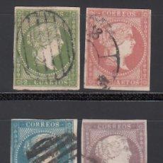 Sellos: ESPAÑA. 1855 EDIFIL Nº 47 / 50. ISABEL II. SIN FILIGRANA 4 VALORES.. Lote 244409090