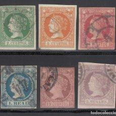 Sellos: ESPAÑA. 1860-1861 EDIFIL Nº 51 / 56. ISABEL II. SERIE COMPLETA. 6 VALORES.. Lote 244410165