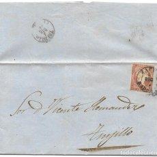 Sellos: 1858 (4 DIC) CARTA COMPLETA ZAFRA (BADAJOZ). FECHADOR TIPO I. SOBRE 4 C. EMISIÓN ISABEL II 1858. Lote 244523860