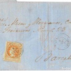 Sellos: 1861 (8 ABR) CARTA COMPLETA VERA, ALMERÍA FECH. TIPO II. SOBRE 4C.EMISIÓN ISABEL II 1860. Lote 244527265