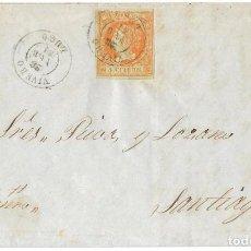 Sellos: 1861 (28 FEB) CARTA COMPLETA VIVERO, LUGO FECH TIPO II. SOBRE 4C.EMISIÓN ISABEL II 1860. Lote 244527755