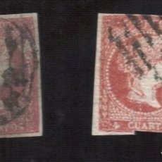 Selos: ISABEL II 1856 -FALSO POSTAL TIPO IV GRAUS SORO 8 F CON FILIGRANA Y SIN FILIGRANA. Lote 244566285