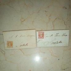Sellos: DOS CARTAS DOBLADAS ENTERAS CON SELLOS DE ISABEL II, LACRADAS. 1860 Y 1859.SELLOS TACHADOS PLUMA.. Lote 245219625