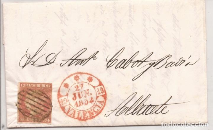 1852 CARTA CIRCULADA DE VALENCIA A ALBACETE EDIFIL 12(º) (Sellos - España - Isabel II de 1.850 a 1.869 - Cartas)