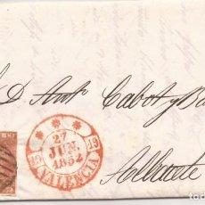 Sellos: 1852 CARTA CIRCULADA DE VALENCIA A ALBACETE EDIFIL 12(º). Lote 250310605