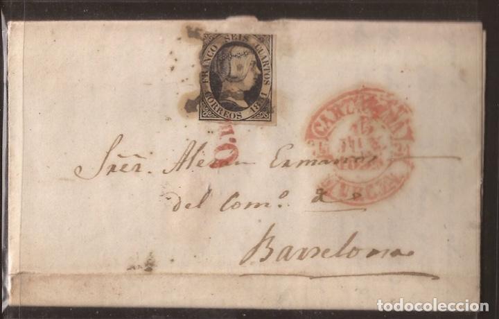 1851 CARTA CIRCULADA DE CARTAGENA A BARCELONA EDIFIL 6 VC 47,00 € (Sellos - España - Isabel II de 1.850 a 1.869 - Cartas)