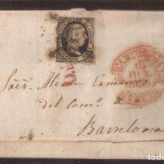Sellos: 1851 CARTA CIRCULADA DE CARTAGENA A BARCELONA EDIFIL 6 VC 47,00 €. Lote 250311710