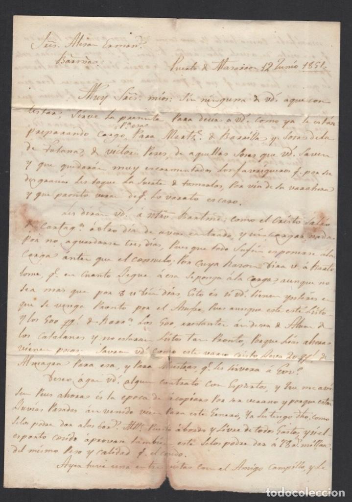 Sellos: 1851 Carta Circulada de Cartagena a Barcelona Edifil 6 VC 47,00 € - Foto 3 - 250311710
