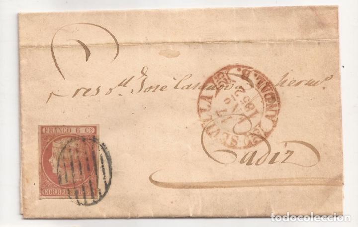 1852 SOBRE CIRCULADO DE SEVILLA A CADIZ EDIFIL 12(º) (Sellos - España - Isabel II de 1.850 a 1.869 - Cartas)