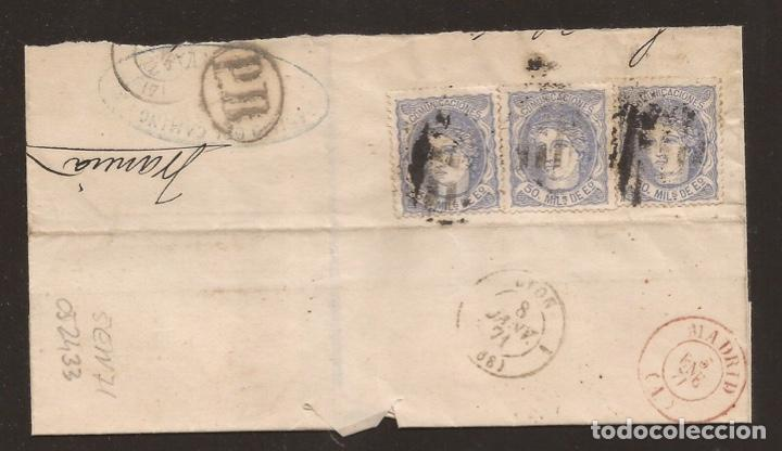 1871 SOBRE FRAGMENTO CIRCULADO DE MADRID A LYON EDIFIL 107(º) (Sellos - España - Isabel II de 1.850 a 1.869 - Cartas)