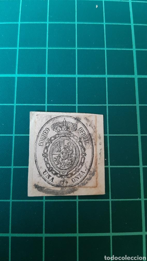 ESPAÑA ESCUDO 1855 EDIFIL 35 USADO ISABEL II 1/2 ONZA FILATELIA COLISEVM (Sellos - España - Isabel II de 1.850 a 1.869 - Usados)